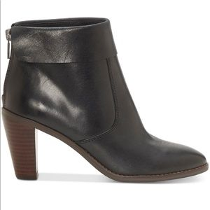 Lucky Brand Black Leather Cuffed Ankle Boot NEW